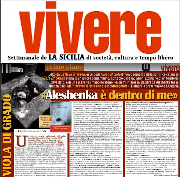 """SMF per VIVERE inserto del giovedì de La Sicilia – Intervista a Viola Di Grado per il suo """"Fuco al cielo"""" – La nave di Teseo"""