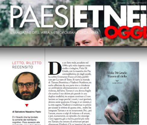 """Paesi Etnei Oggi n. 270 Aprile 2019. SMF: recensione a """"Fuoco al cielo"""" di Viola Di Grado"""