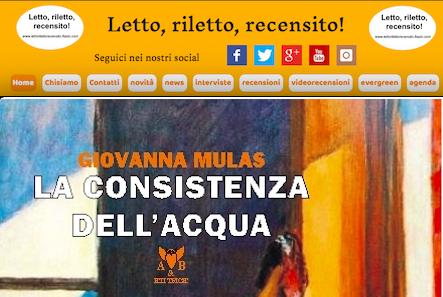 """SMF per Letto, riletto, recensito! – Recensione a """"La consistenza dell'acqua"""" di Giovanna Mulas – A & B editrice"""