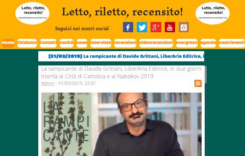 SMF per Letto, riletto, recensito! – La rampicante di Davide Grittani, LiberAria Editrice, in due giorni trionfa al Città di Cattolica e al Nabokov 2019