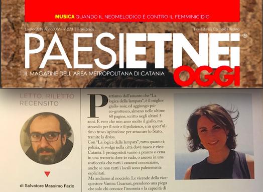 """Paesi Etnei Oggi n. 273 Luglio 2019. SMF recensisce """"La logica della lampara"""" di Cristina Cassar Scalia"""