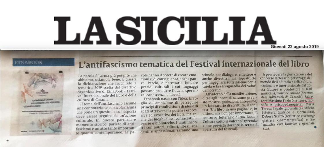 SMF citato su La Sicilia – L'antifascismo tematica del Festival internazionale del libro