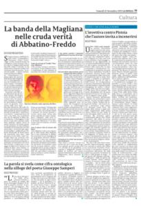 L'intervista su La Sicilia del 22 novembre 2019