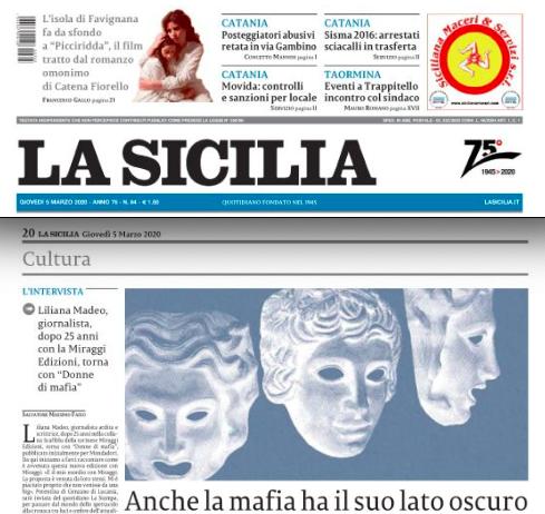 """SMF per La Sicilia – Anche la mafia ha il suo lato oscuro – L'intervista a Liliana Madeo autrice di """"Donne di mafia"""" – Miraggi Edizioni"""