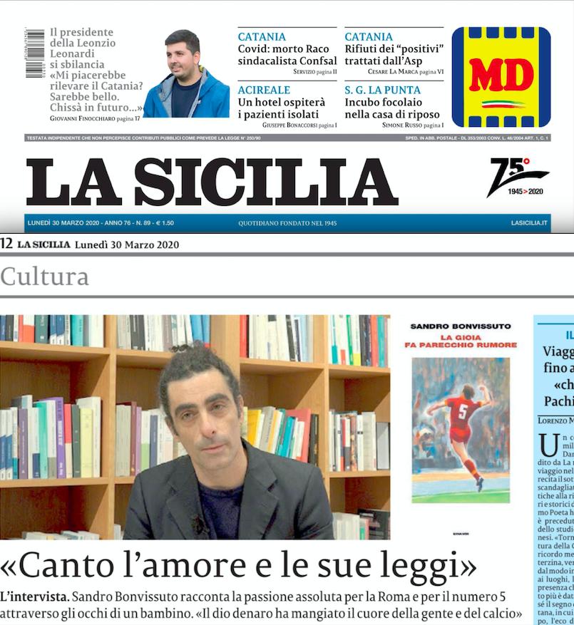 SMF per La Sicilia – Intervista a Sandro Bonvissuto: «Canto l'amore e le sue leggi»
