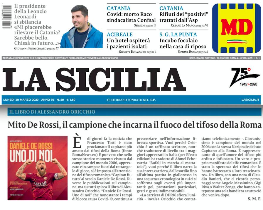 SMF per La Sicilia – Mito De Rossi, il campione che incarna il fuoco della Roma