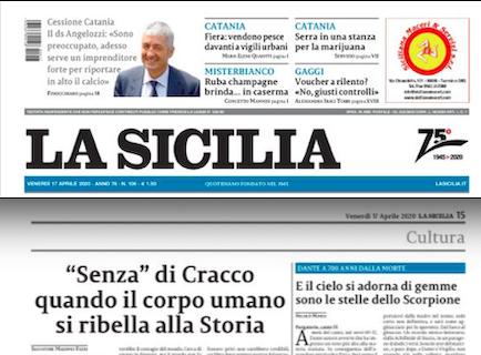 """SMF per La Sicilia – """"Senza"""" di Cracco quando il corpo umano si ribella alla Storia"""