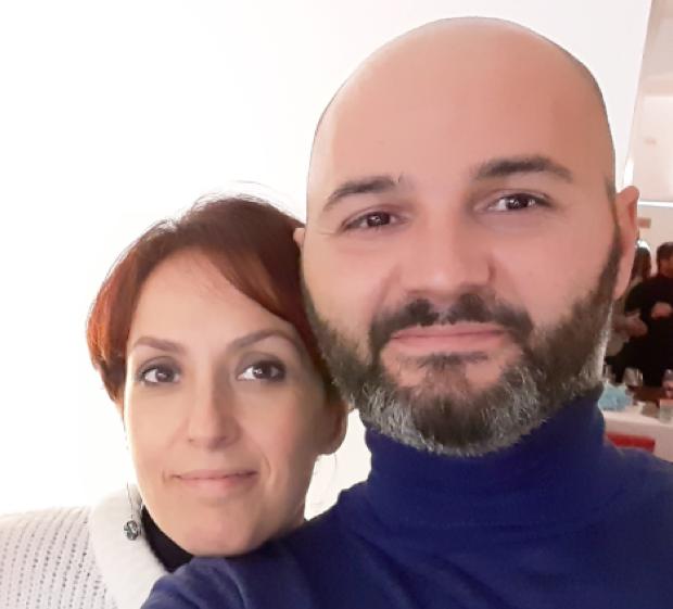 Luca Inglese con la moglie