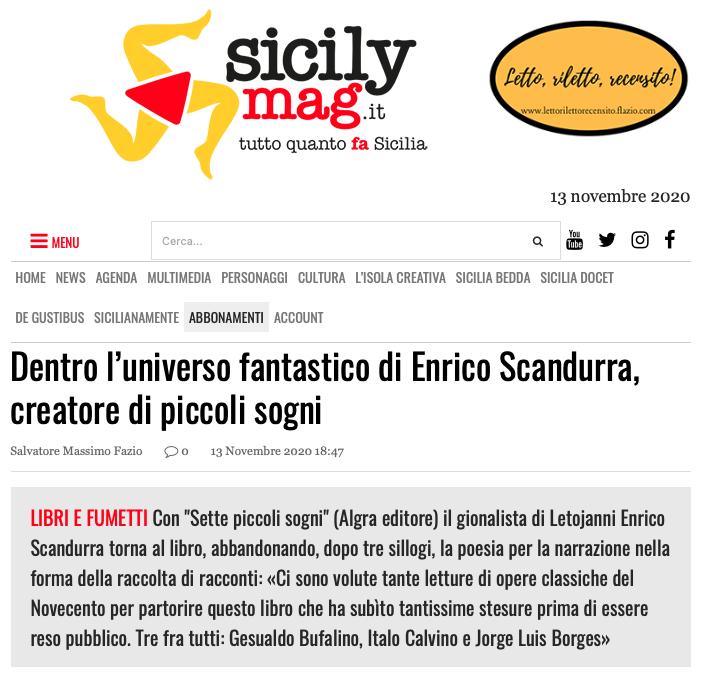 SMF per SicilyMag – Dentro l'universo fantastico di Enrico Scandurra, creatore di piccoli sogni – L'intervista