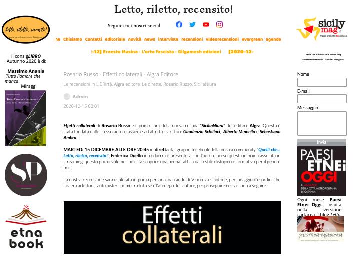 SMF per Letto, riletto, recensito! – Rosario Russo – Effetti collaterali – Algra Editore – La recensione