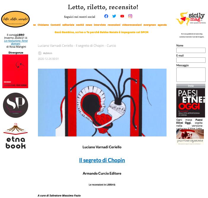 SMF per Letto, riletto, recensito! – Luciano Varnadi Ceriello – Il segreto di Chopin – Curcio – La recensione