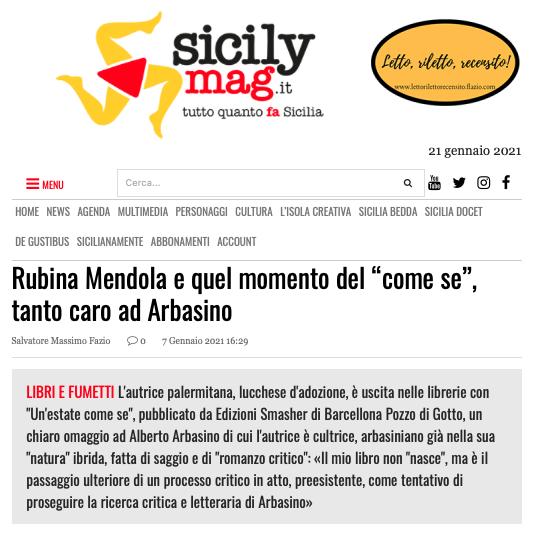"""SMF per SicilyMag – Rubina Mendola e quel momento del """"come se"""", tanto caro ad Arbasino – L'intervista"""