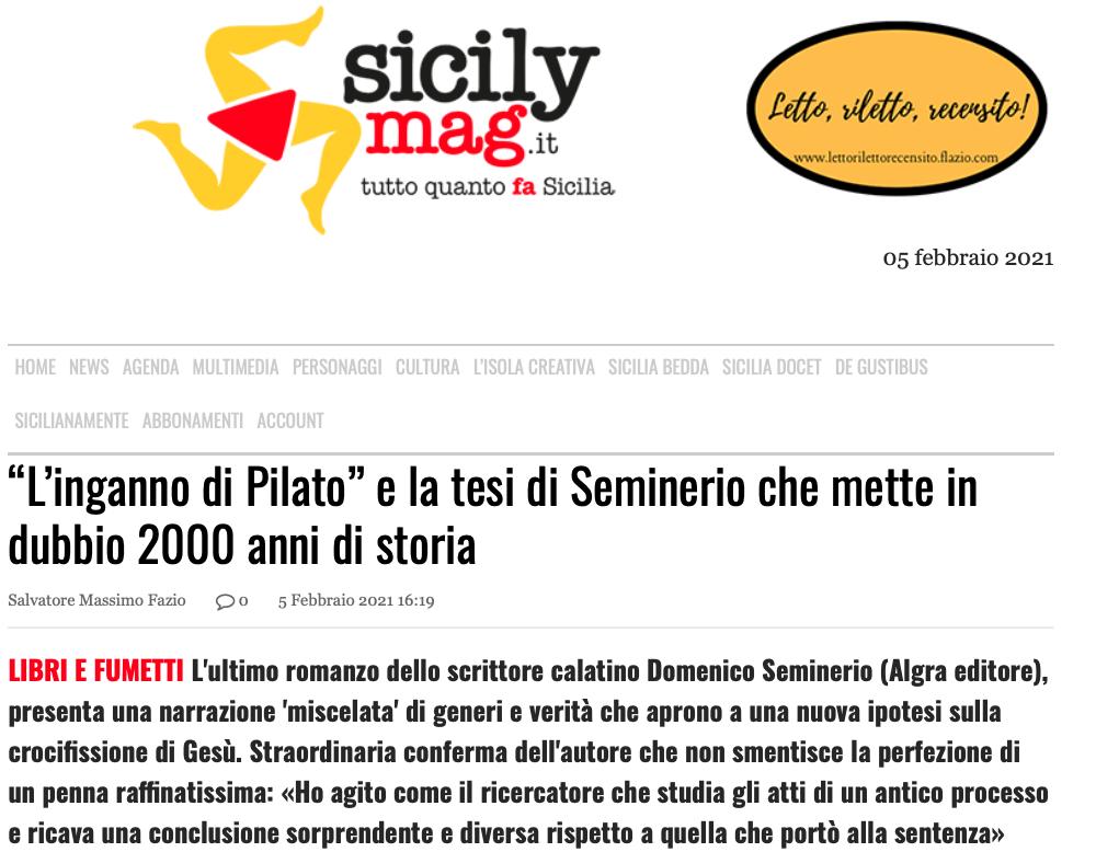 """SMF per SicilyMag – """"L'inganno di Pilato"""" e la tesi di Seminerio che mette in dubbio 2000 anni di storia"""