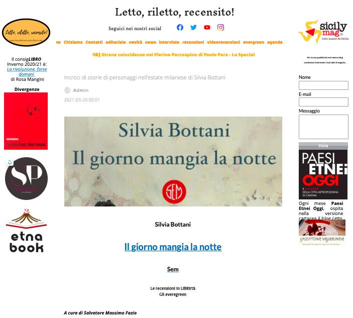 SMF per Letto, riletto, recensito! – Incroci di storie di personaggi nell'estate milanese di Silvia Bottani