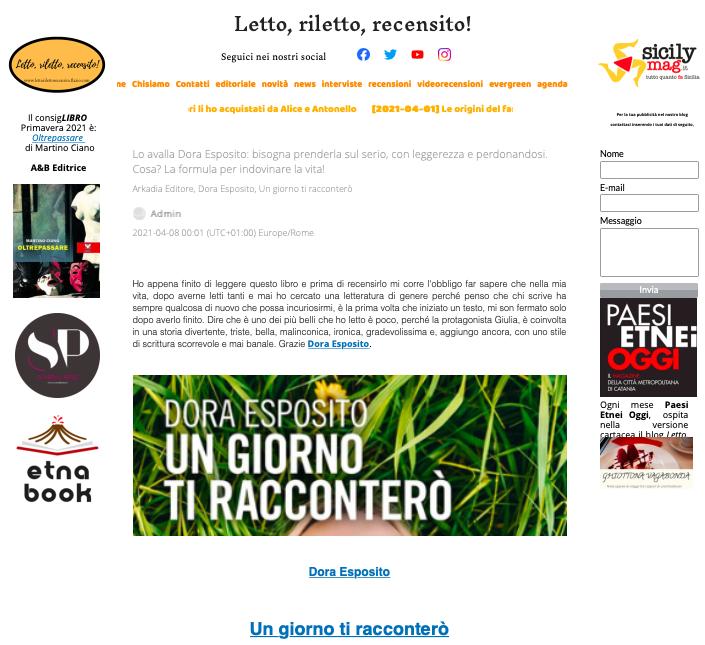 SMF per Letto, riletto, recensito! – Lo avalla Dora Esposito: bisogna prenderla sul serio, con leggerezza e perdonandosi. Cosa? La formula per indovinare la vita!