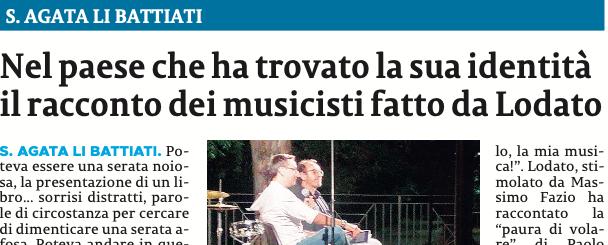 SMF su La Sicilia – S. A. Li Battiati Nel paese che ha trovato la sua identità il racconto dei musicisti fatto da Lodato