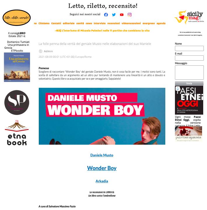 SMF per Letto, riletto, recensito! – La folle penna della verità del geniale Musto nelle elaborazioni del suo Maniele