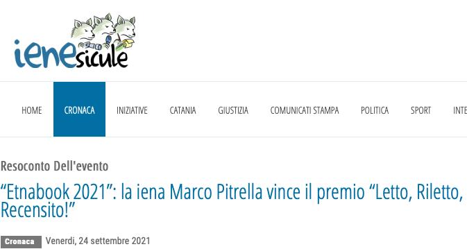 """SMF su Le iene sicule – """"Etnabook 2021"""": la iena Marco Pitrella vince il premio """"Letto, Riletto, Recensito!"""""""