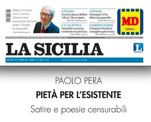 """SMF per La Sicilia – """"Pietà per l'esistente"""", i versi di Paolo Pera oltraggioso e divertente"""